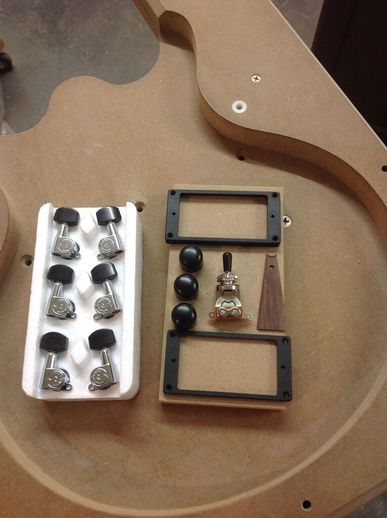 ebony upgrade. Pickup rings, tuner buttons, switch tip and pot knobs.